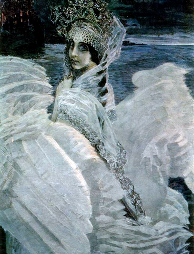 The third act was from 1903-1906. During these years, Vrubel battled mental illness and his physical and intellectual abilities were in decline. The epilogue was his final years until his death in 1910. / The swan princess, 1900.