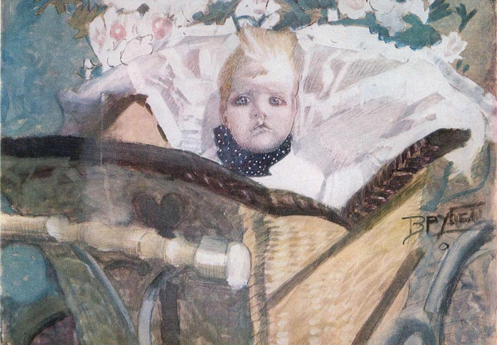 Pendant la création du Démon terrassé, Vroubel a un fils. C'est un bon garçon, mais il est né avec une malformation : un bec-de-lièvre. Vroubel lui-même commence à halluciner. Il est alors placé dans un hôpital psychiatrique. Malheureusement, cela ne marque pas la fin de ses malheurs. Un an plus tard, son fils décède.  / Fils de l'artiste, 1901.