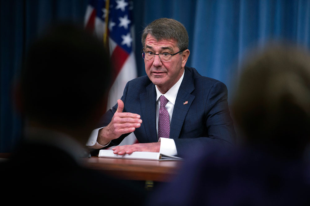 US Secretary of Defense Ashton Carter hosts Press Conference