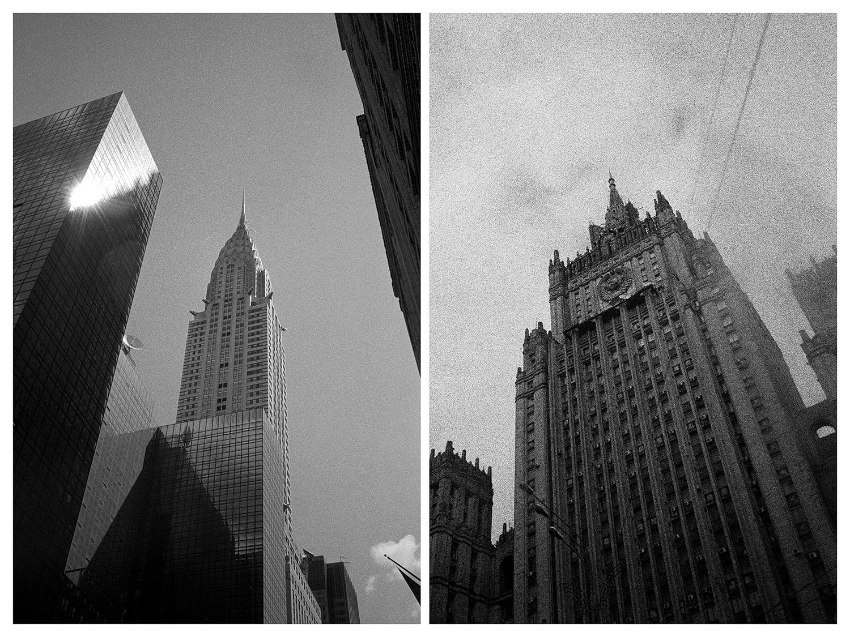 Когато дойдох в Ню Йорк за първи път, не бях шокиран от величествените сгради, улици и стилните хора. Всичко ми се стори доста обичайно. Разхождах се из кварталите, возих се на метрото и вземах таксита, точно както бях правил стотици пъти преди в други градове. Не обръщах внимание на това, докато не погледнах през прозореца и не видях градския пейзаж. Тогава усетих, че съм бил тук или съм живял тук и преди: в същата тази стая на 16-ия етаж на Пето авеню в Ню Йорк. Това усещане ме осени още няколко пъти в рамките на следващите два месеца. Почувствах се едновременно уплашен и запленен. Започнах да снимам града. Правех само вертикални снимки като микроскопичен къс от нюйоркската реалност, където небостъргачите гледат нагоре към небето.