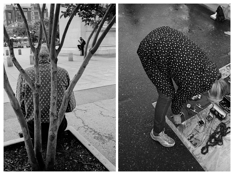 """Ню Йорк – Мъж седи върху кашпа близо до входа на """"Вашингтон скуеър парк"""". / Москва – Жена продава дреболии на битак край Музея на Москва."""