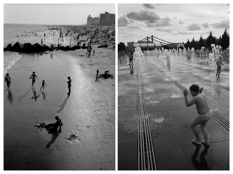 """Ню Йорк – Хора се радват на деня на плажа на Кони Айлънд. / Москва – Московчанин си почива в Парка на изкуствата """"Музеон"""" на крайбрежната улица """"Кримская""""."""