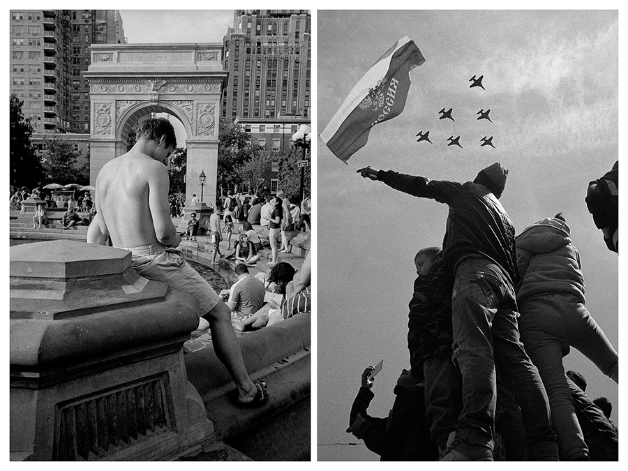 """Ню Йорк – Млад мъж си проверява телефона край фонтана на """"Вашингтон скуеър парк"""". / Москва – Момче с руското знаме поздравява самолетите по време на парада за 70-годишнината от Деня на победата."""