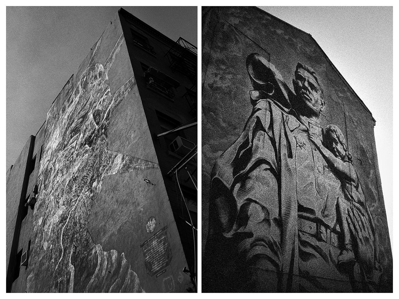 Ню Йорк – Графит на Статуята на свободата на стената на сграда в Малката Италия. / Москва – Рисунка на паметник на съветски войници на стената на сграда близо до Големия москворецки мост.