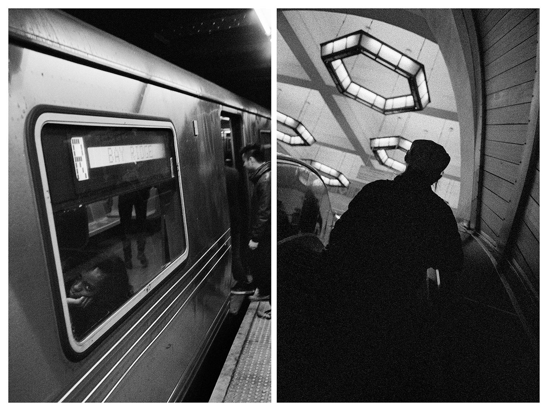 Ню Йорк – Момиче в метрото. / Москва – Ескалатор в Московското метро.