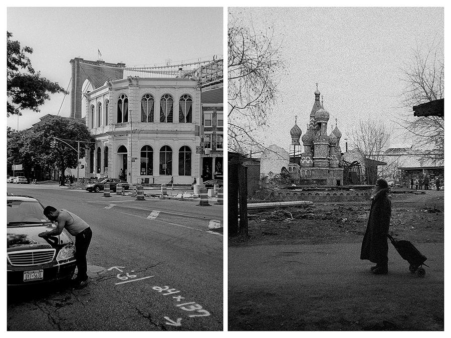"""Ню Йорк – Мъж мие """"Мерцедес"""" близо до Бруклинския мост на Бруклинските възвишения. / Москва – Жена с количка пред дървен модел на Кремъл на Измайловския пазар."""