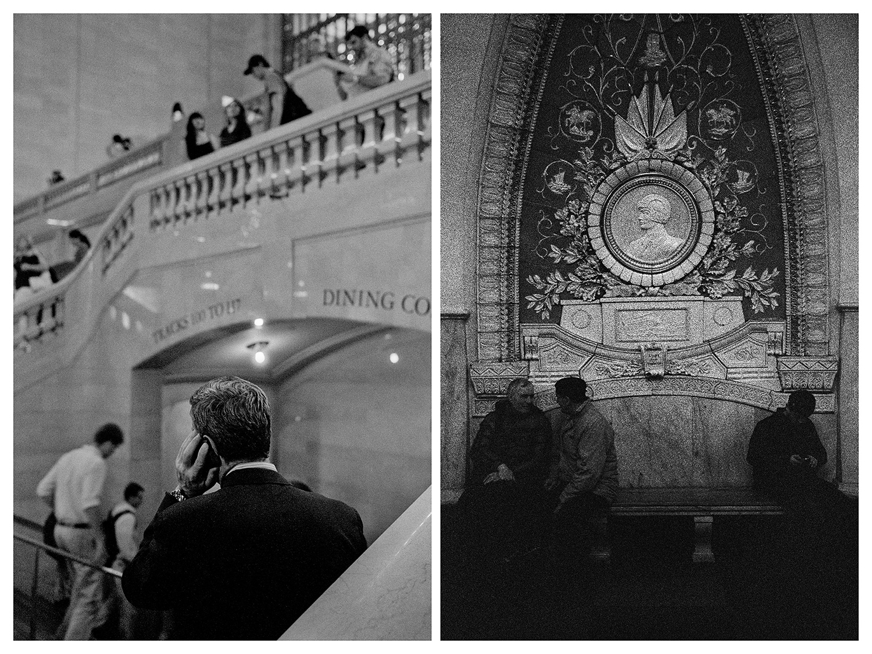 """Ню Йорк – Мъж говори по телефона на """"Гранд Сентръл Стейшън"""". / Москва – Пътници чакат метрото близо до изображение на съветски войник на станция """"Таганская""""."""