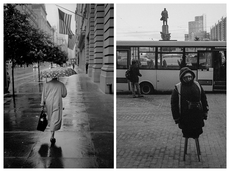 """Ню Йорк – Жена с чадър се разхожда из центъра на града. / Москва – Жена стои на столче и продава автобусни билети близо до изхода на метростанция """"Октябърская""""."""