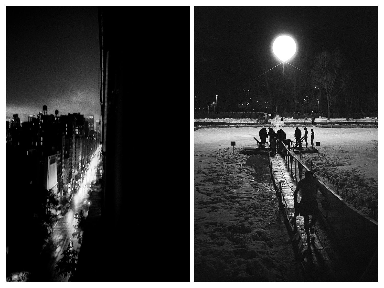 """Ню Йорк – """"Пето авеню"""" през нощта. / Москва – Йордановден в парка """"Соколники"""" на Майското езеро."""