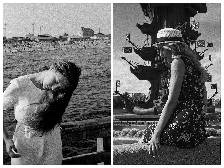 """Ню Йорк – Момиче на дървен кей на плажа на Кони Айлънд. / Москва – Момиче седи на бетонната ограда срещу статуята на Петър Велики близо до р. """"Москва""""."""