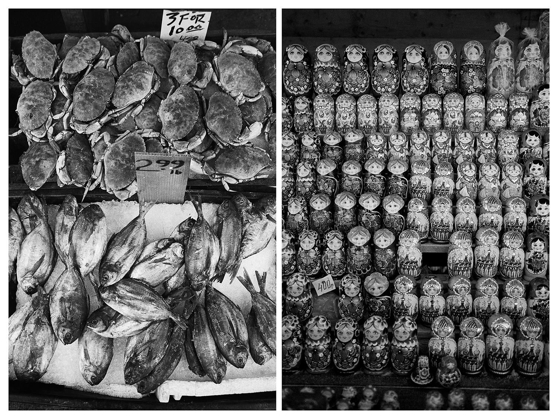 Ню Йорк – Щанд, обсипан с риба и раци в Чайнатаун. / Москва – Щанд, отрупан с матрьошки на Измайловския пазар.