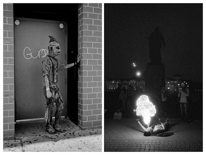 """Ню Йорк – Мъж в костюм на акула по време на Парада на русалките на Кони Айлънд. / Москва – Тълпа зрители на площад """"Болотная"""". Тук често се организират огнени пърформанси."""