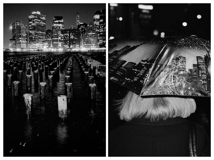 Ню Йорк – Изглед на Манхатън през нощта от Бруклин. / Москва – Жена се крие от снега под чадър, покрит с изображения на небостъргачи.