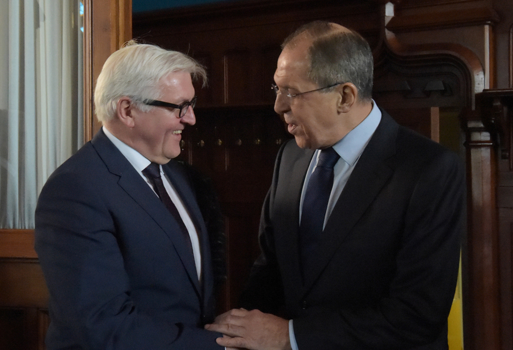 Russian Foreign Minister Sergei Lavrov and German Foreign Minister Frank-Walter Steinmeier.