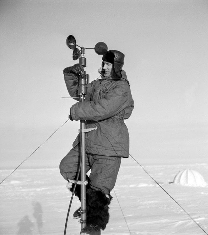 "Weather stations can be found in the most remote places, including ice-bound islands in the Arctic Ocean and the world's highest mountains. // 1957. An employee at the ""North Pole-5"" drifting research station."