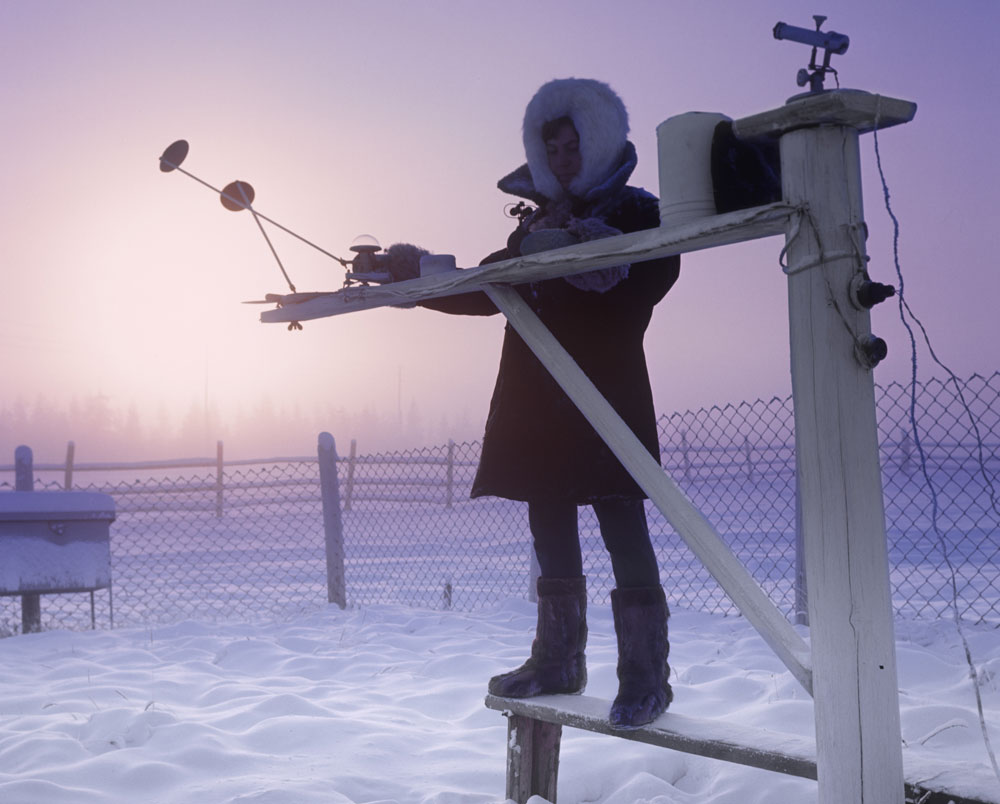 With its vast territory Russia always needs to be on top of the weather. Therefore, Russian meteorologists celebrate World Meteorological Day with a deserved sense of self-worth.  // Meteorologist Ludmila Furseva measures solar radiation at the weather station in Verkhoyansk, Yakutia. With its record low of −69.8 °C (-93.6ºF), Verkhoyansk is one of the places considered as the northern Pole of Cold.