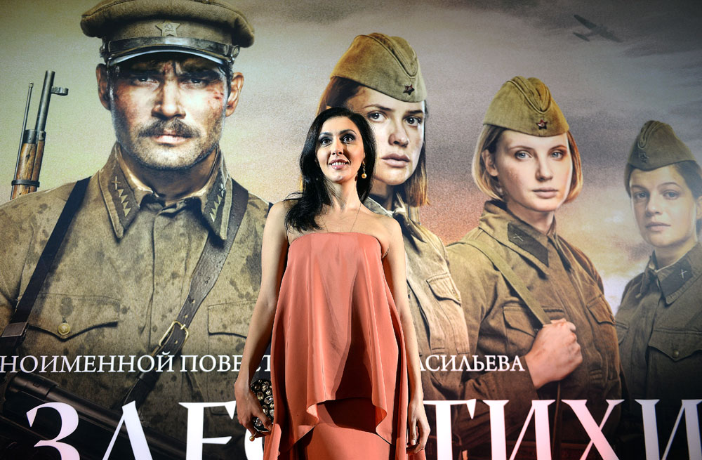 "Roskino general Director Yekaterina Mtsituridze at the first run of Renat Davletyarov's movie ""The Dawns Here Are Quiet"" in the concert hall of the State Kremlin Palace"