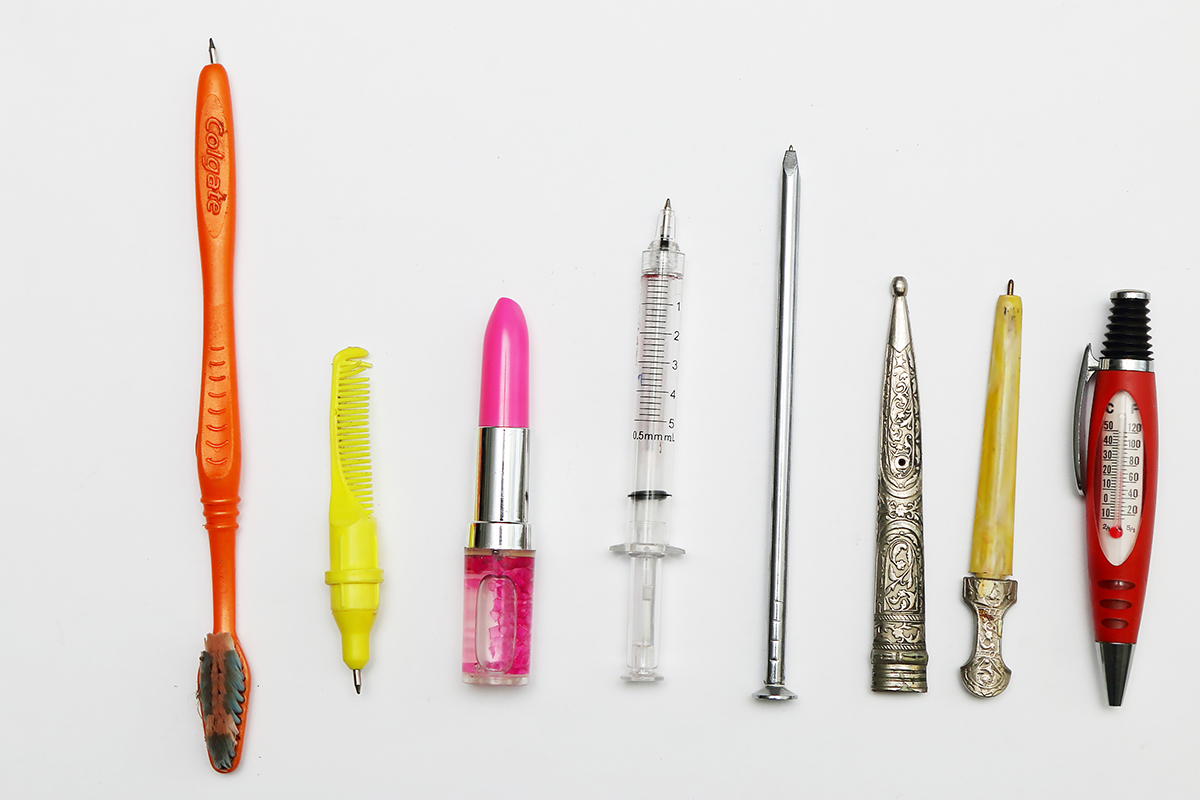 A toothbrush-pen, a comb-pen, a lipstick-pen, a syringe-pen, a nail-pen, a sword-pen and a thermometer-pen.
