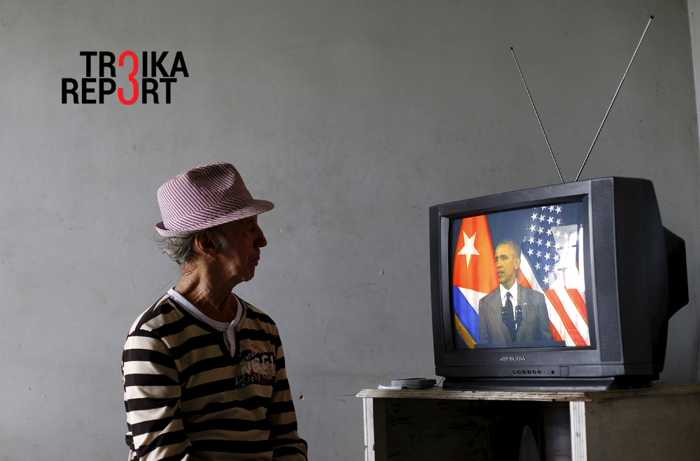 A man watches on television as U.S. President Barack Obama delivers a speech at the Gran Teatro de la Habana Alicia Alonso in Havana, March 22, 2016.