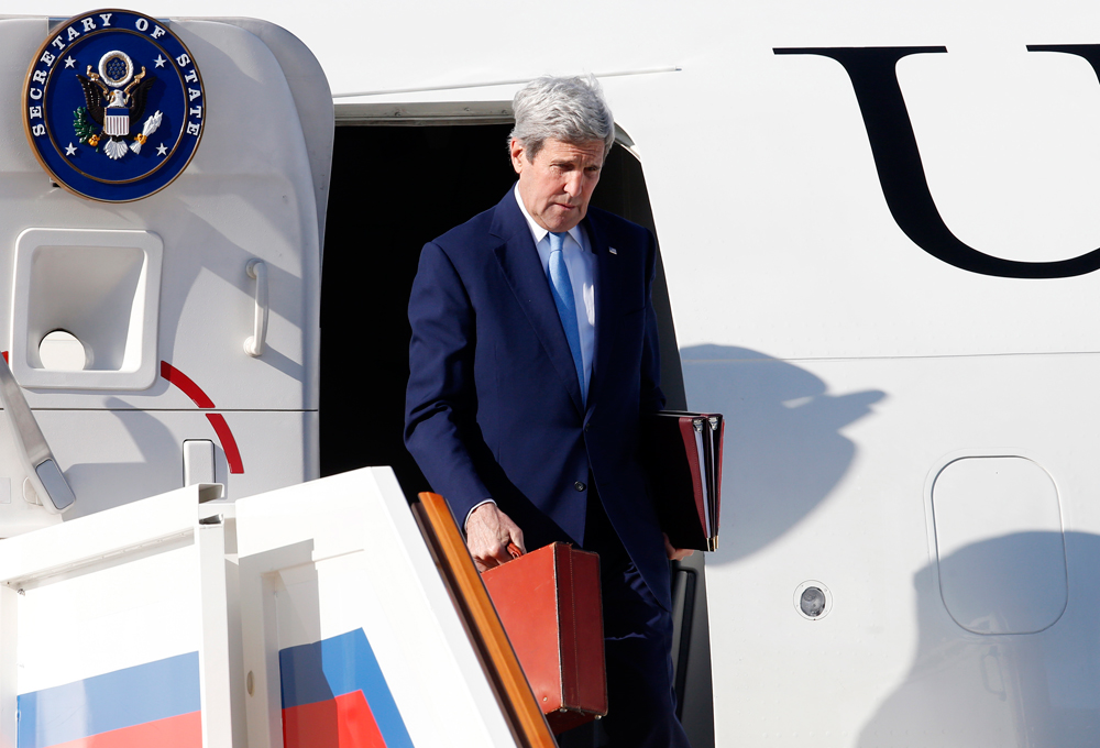 U.S. Secretary of State John Kerry arrives at Vnukovo 2 airport, March 23.