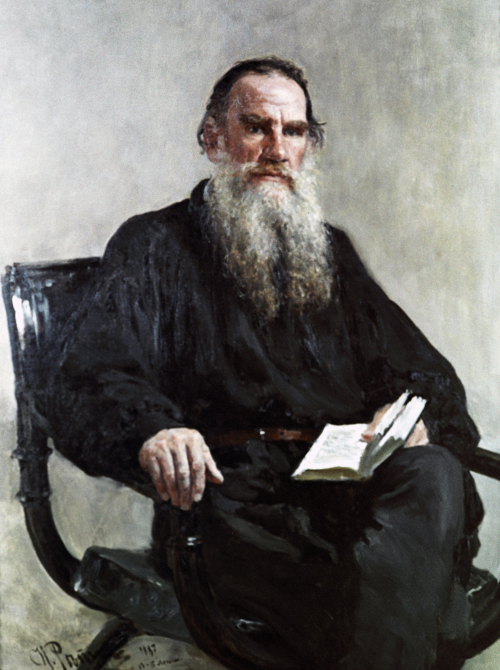 A copy of the portrait of Leo Tolstoy by Ilya Repin from the collection of the State Pushkin Fine Arts Museum.