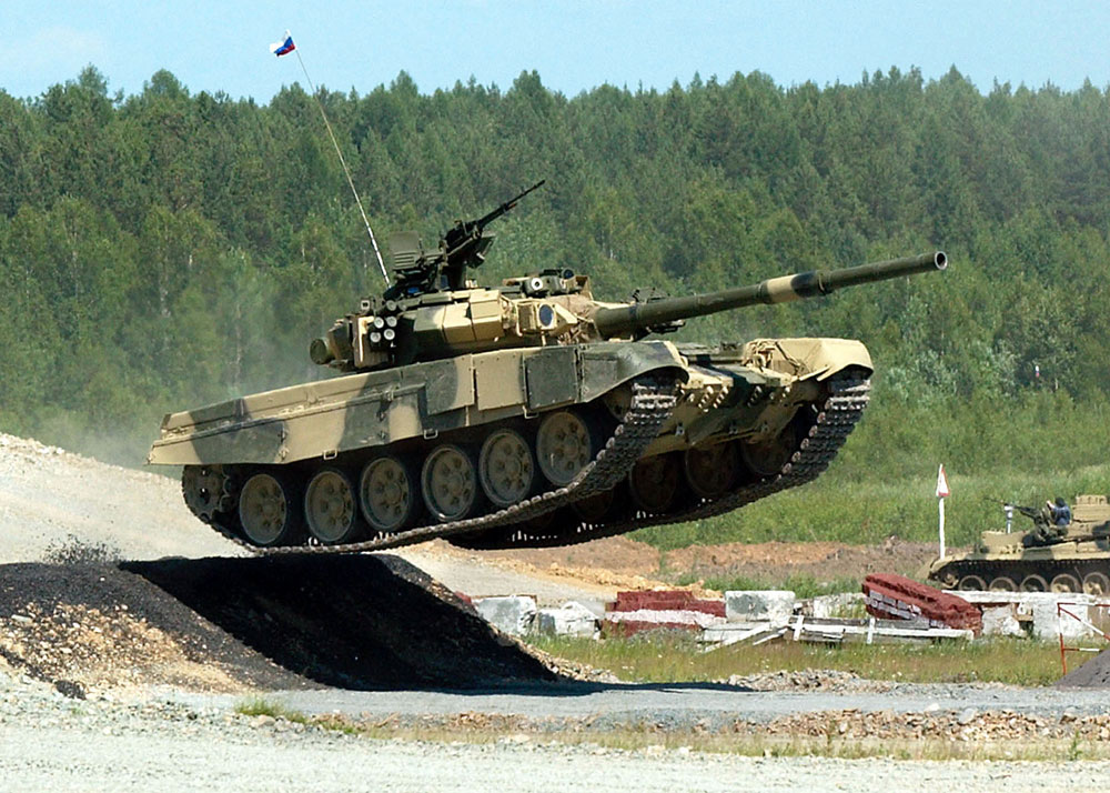 Russian tank T-90 demonstrates its capabilities during an exhibition