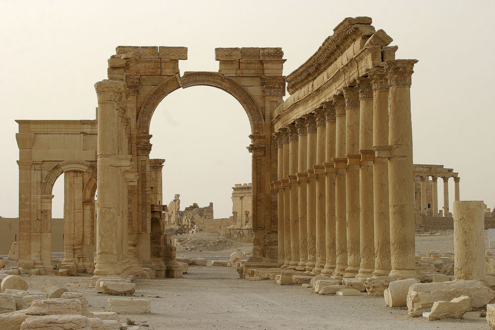 Columns are seen in the historical city of Palmyra, Syria, June 12, 2009. Satellite images have confirmed the destruction of the Temple of Bel, which was one of the best preserved Roman-era sites in the Syrian city of Palmyra.