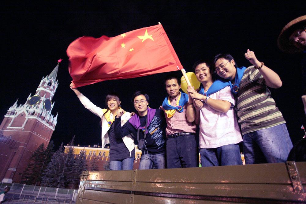 Turis Tiongkok di Moskow.