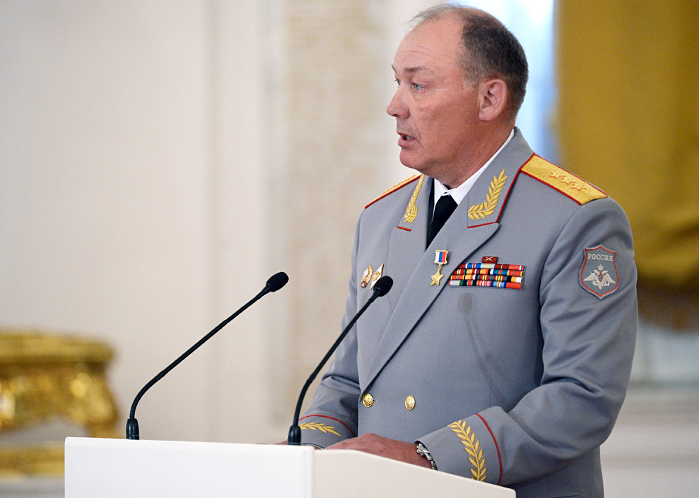 Colonel General Alexander Dvornikov, deputy commander, Central Military District, holding the Hero of Russia rank, seen in the Kremlin's St.George Hall, at the ceremony of presenting state awards to officers and experts who distinguished themselves in the counter-terrorism operation in Syria, March 17, 2016.
