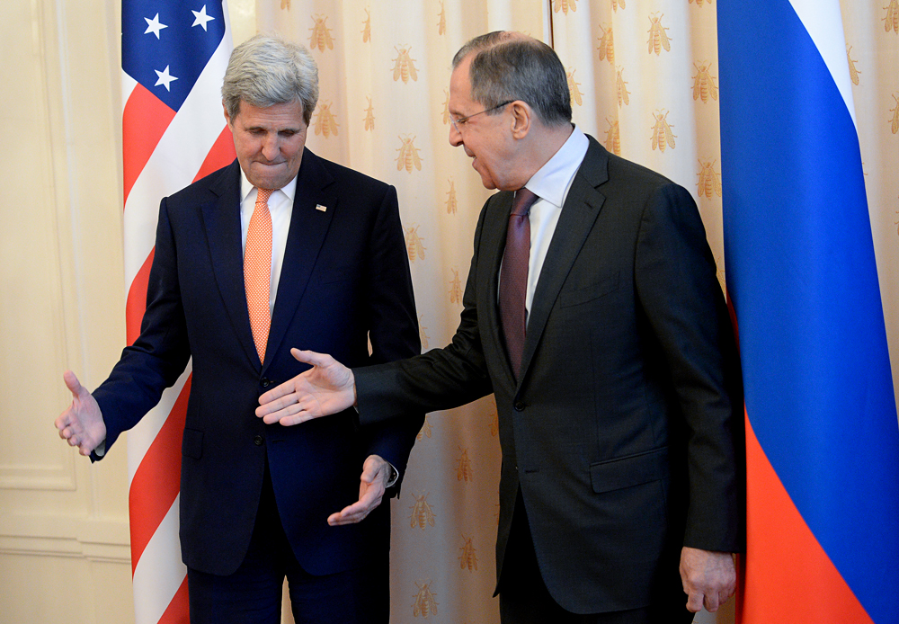Russian Foreign Minister Sergei Lavrov and U.S. Secretary of State John Kerry meet in Moscow.
