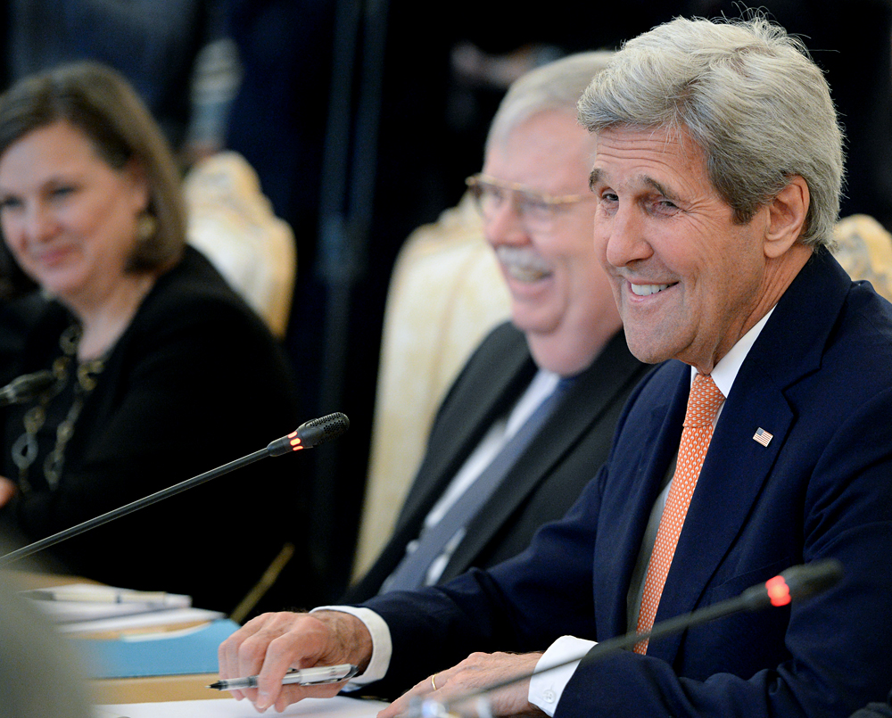 U.S. Secretary of State John Kerry during a Moscow meeting with Russian Foreign Minister Sergei Lavrov.