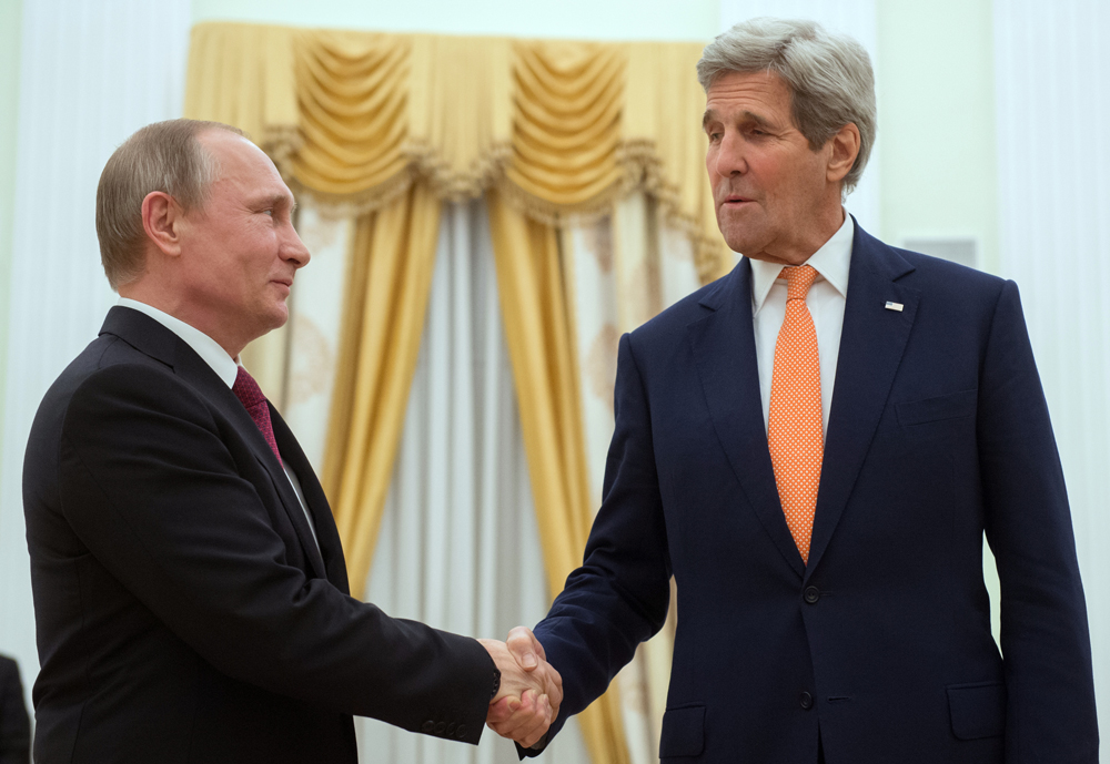 Russian President Vladimir Putin and U.S. Secretary of State John Kerry, March 24, 2016.