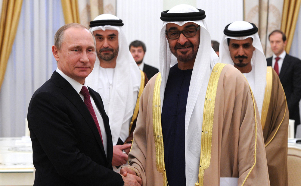 Russian President Vladimir Putin and Crown Prince of Abu Dhabi Mohammed Al-Nahyan, March 24.
