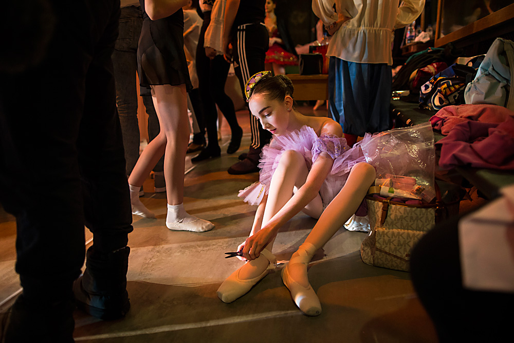 Harper Ortlieb from Mount Hood, Oregon, prepares for a performance at the Bolshoi Ballet Academy in Moscow.