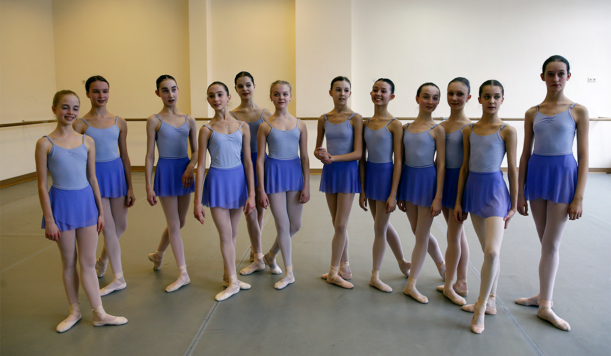 Harper Ortlieb (third left) left her small town in Oregon to move to Moscow to follow her dream of becoming a prima ballerina.