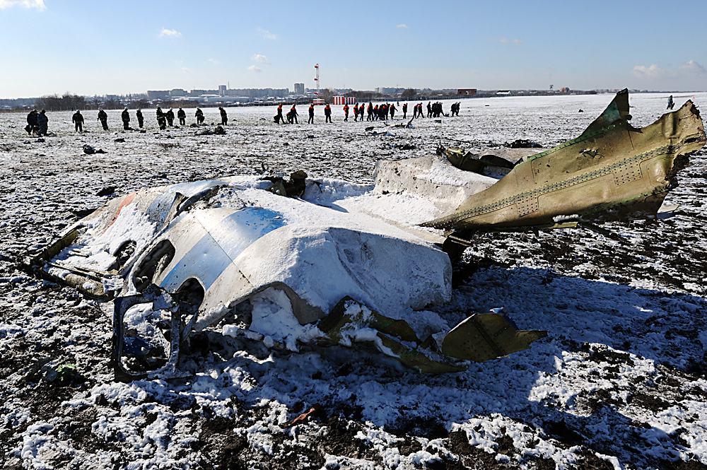 The crash site of the FlyDubai Boeing-737-800 passenger jet which crashed on landing in Rostov-on-Don airport.