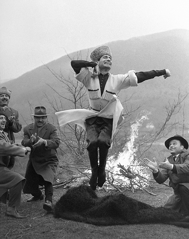 The traditional Caucasian dance Lezginka performed by Makhmud Esambaev, one of the region's most celebrated dancers, 1971.