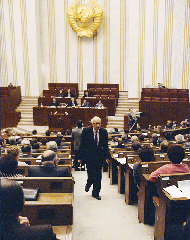 Andrei Sakharov, a Russian nuclear physicist and an activist for disarmament, peace and human rights became an advocate of civil liberties in the USSR and earned the Nobel Peace Prize in 1975. In the photo Sakharov is leaving the First Congress of People's Deputies of the Soviet Union, where he criticized the communist government, 1989.