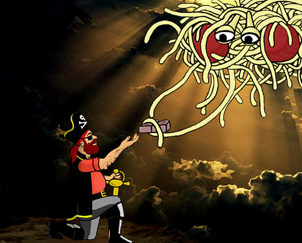"Depiction of the Flying Spaghetti Monster giving the ""I'd Really Rather You Didn'ts"" tablets to Captain Mosey. According to Pastafarians the world was created by the Flying Spaghetti Monster."