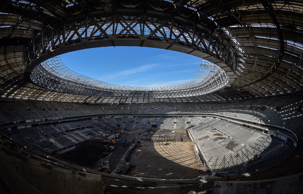 Moscow's Luzhniki Stadium under reconstruction.