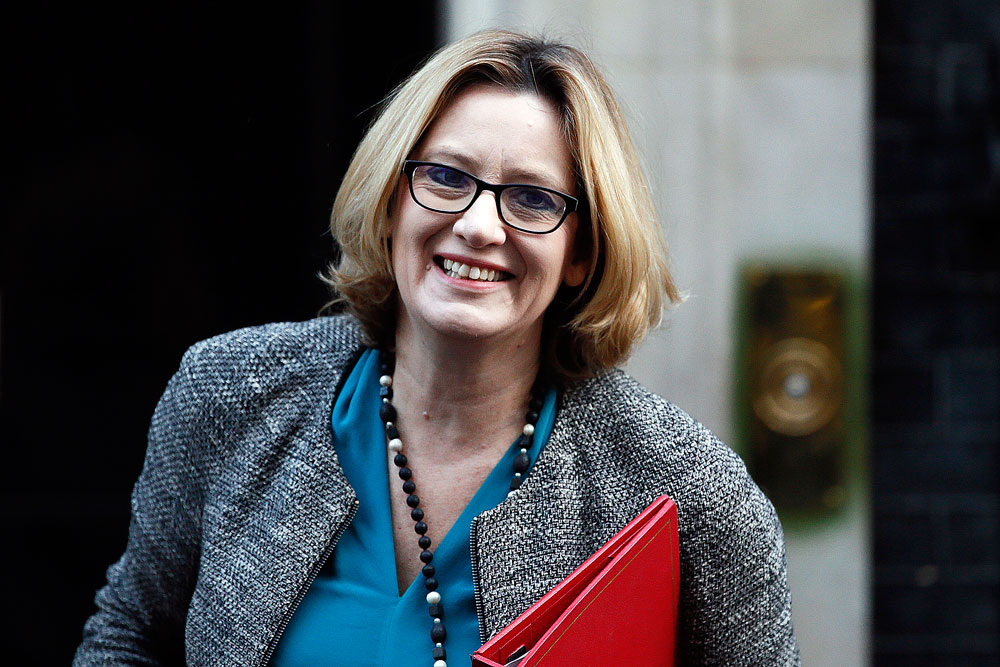 Britain's Energy Secretary, Amber Rudd, arrives to attend a cabinet meeting at Number 10 Downing Street in London.