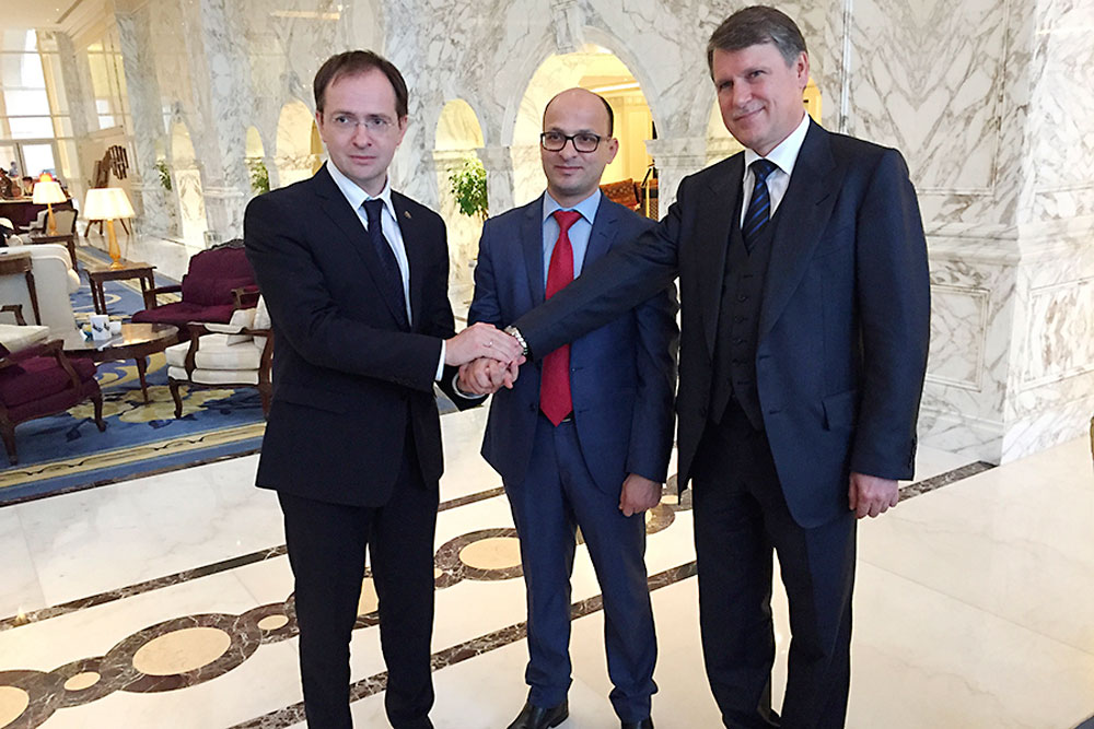 Russian Minister of Culture Vladimir Medinsky and Deputy Head of the Russian Federal Tourism Agency Sergei Korneyev.