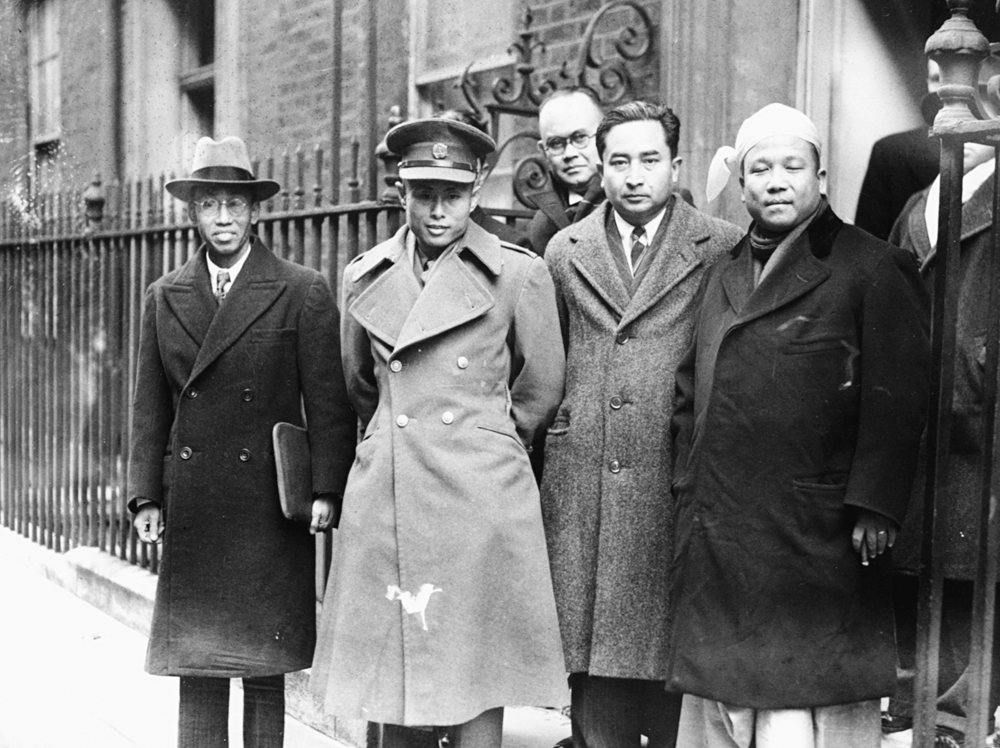 Burmese Vice President Aung San (second from left) arriving at 10 Downing Street with his delegation in London, January 13th 1947.