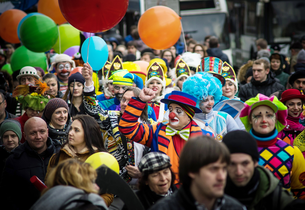 A clown parade as part of the 13th International Smeshnoy (Funny) Festival in St. Petersburg.