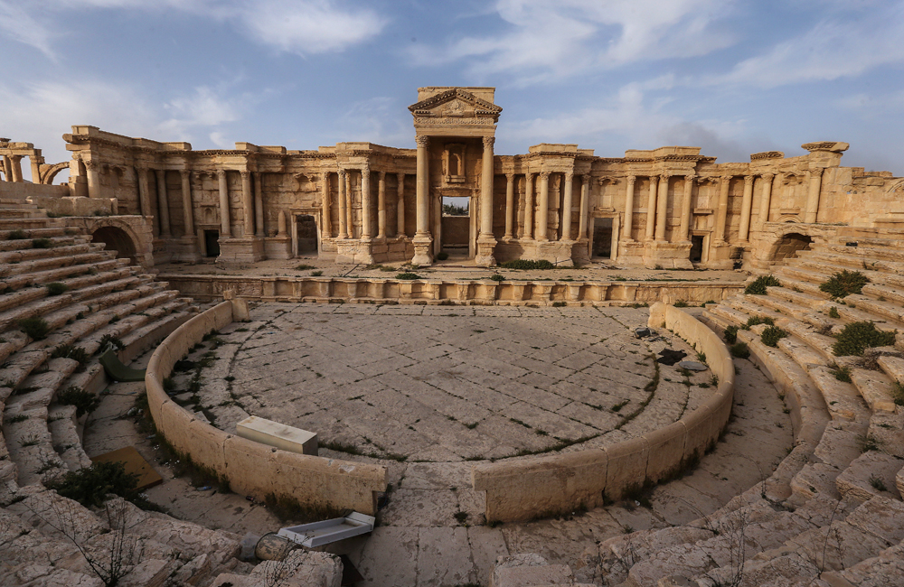 A view of the Roman Theater in the ancient city of Palmyra.
