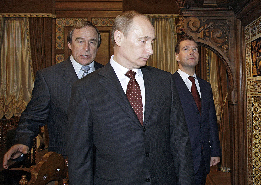 Sergei Roldugin (left), Vladimir Putin and Dmitry Medvedev visiting the St. Petersburg House of Music, Nov. 21, 2009.