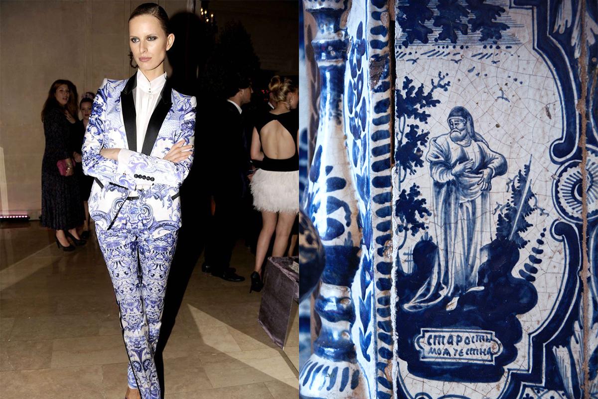 """Чешкият модел Каролина Куркова в Ню Йорк, 2012 г.; ваза в стил """"гжел""""."""
