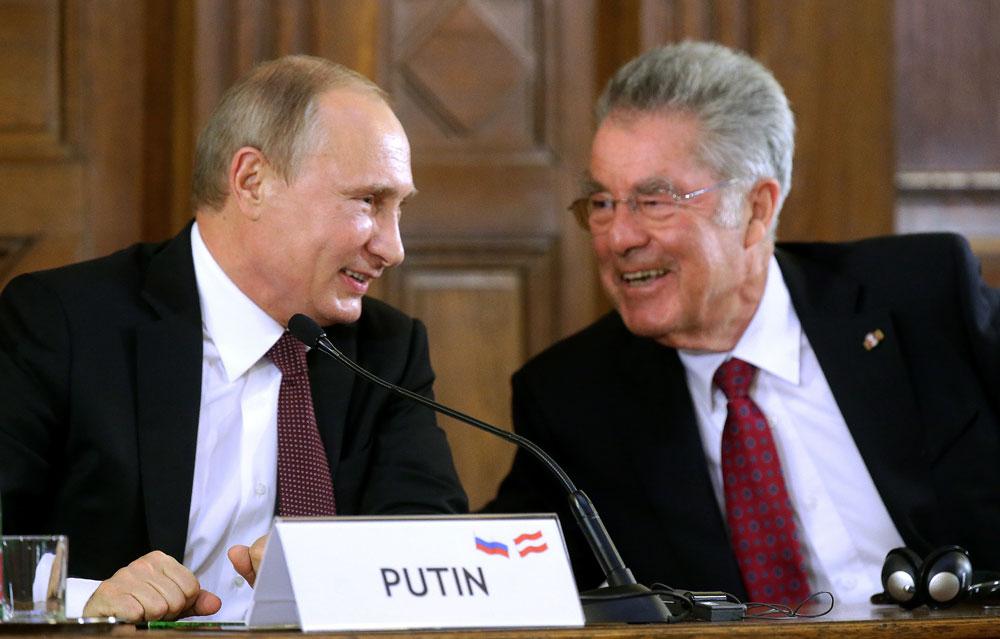 Der russische Präsident Wladimir Putin (links) und der österreichische Präsident Heinz Fischer.
