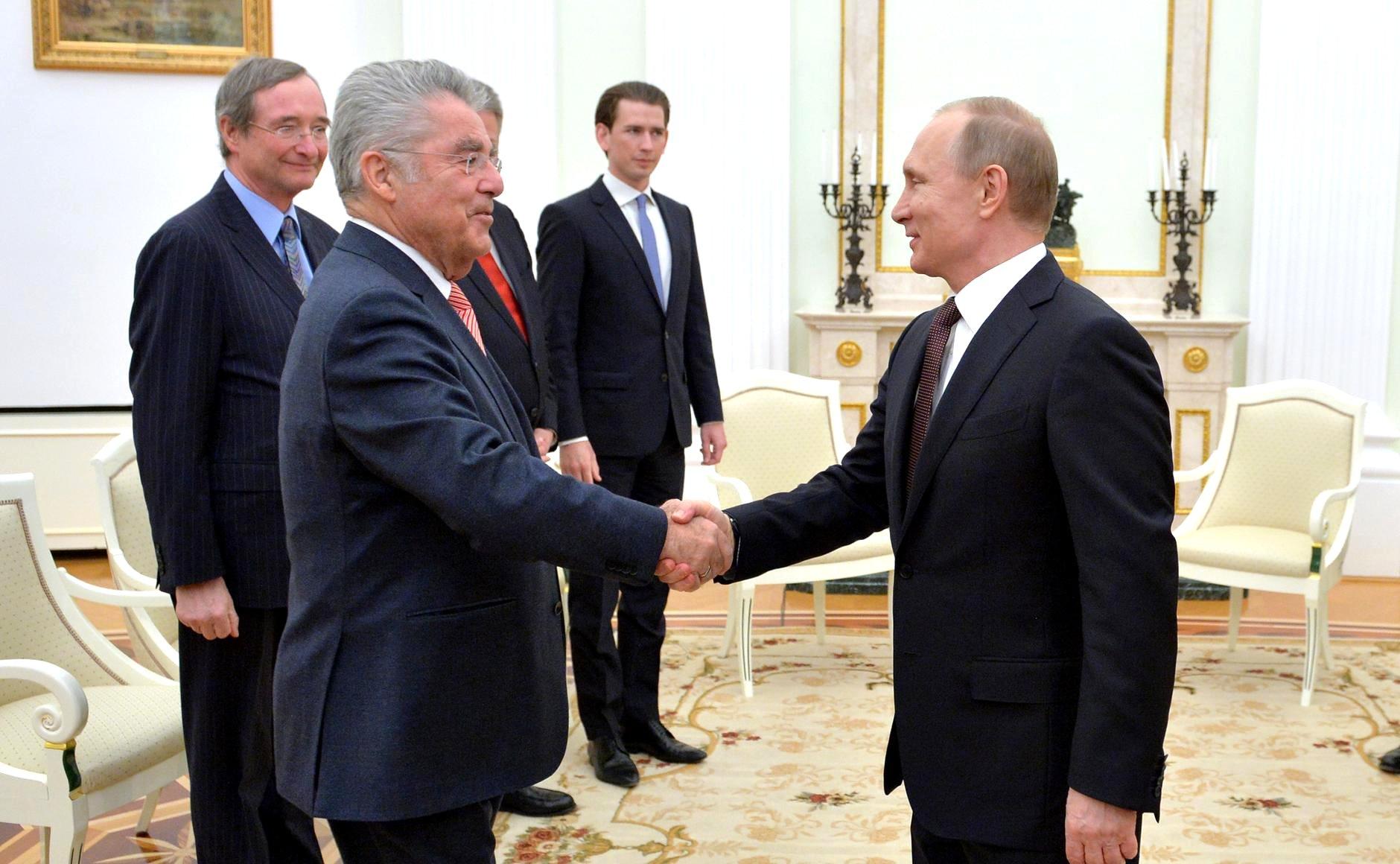 Austrian President Heinz Fischer meets with Russian President Vladimir Putin, April 6, 2016.
