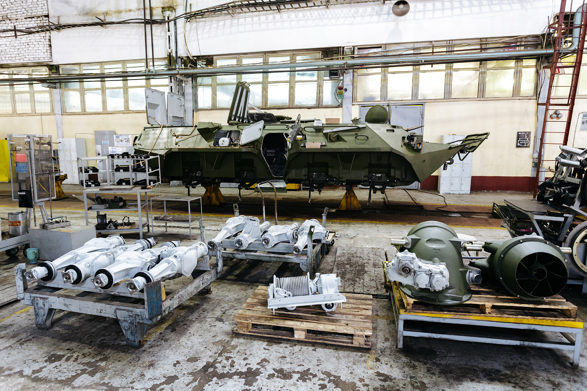 "The assembly line process begins with the BTR's armored base frame or chassis. The armor weighs 4-6 tons and is welded and painted at plant in Vyksa. The armored chassis is nicknamed the ""gondola""."